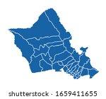 outline blue map of honolulu | Shutterstock .eps vector #1659411655