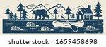 river or lake  fish  canoe ... | Shutterstock .eps vector #1659458698