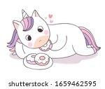 cartoon cute unicorn eating...   Shutterstock .eps vector #1659462595