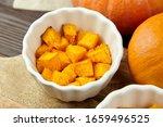 Pieces Of Baked Pumpkin In...