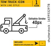 pick up truck and crane icon...