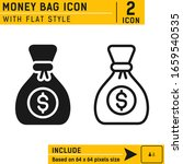 dollar money bag icon vector...