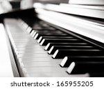 black piano close up blur... | Shutterstock . vector #165955205