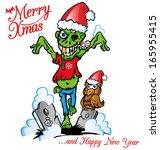 merry  xmas zombie cartoon   Shutterstock .eps vector #165955415