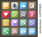 set color flat icons for social ... | Shutterstock .eps vector #165955835