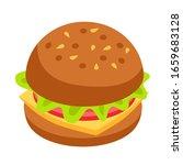 hamburger icon. isometric style ... | Shutterstock .eps vector #1659683128