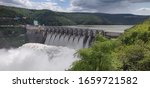 Srisailam Dam, Andhrapradesh / India - Dec 15, 2019 : Dam on Krishna River flowing between Andhra  and Telangana. 9 Gates of the Dam were open.