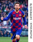 Small photo of BARCELONA - FEB 23: Lionel Messi celebrates a goal at the La Liga match between FC Barcelona and SD Eibar at the Camp Nou Stadium on February 23, 2020 in Barcelona, Spain.