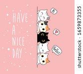 cute adorable kawaii cat kitten ... | Shutterstock .eps vector #1659873355