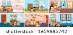 six scenes with children doing... | Shutterstock .eps vector #1659885742