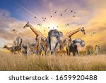 Large group of african safari...