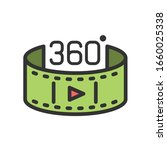 360 video filled outline icon....
