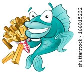 Great illustration of a Cute Cartoon Fish with a Portion of Chips. - stock vector