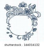 cute floral doodle vintage frame | Shutterstock .eps vector #166016132