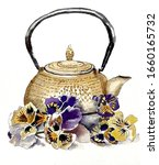 Watercolor Pansy Flowers With...
