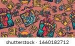 mayan alphabet seamless pattern.... | Shutterstock .eps vector #1660182712