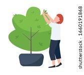 female with secateurs  gardener ... | Shutterstock .eps vector #1660191868