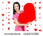 attractive young woman with... | Shutterstock . vector #166021088
