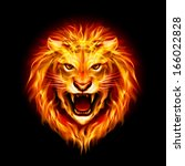 Head Of Aggressive Fire Lion...