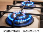 Closeup shot of blue fire from...
