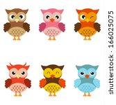 cute  owls | Shutterstock .eps vector #166025075