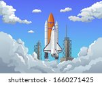 rocket takes off in the starry... | Shutterstock .eps vector #1660271425