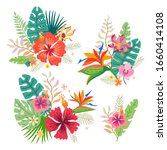 collection of tropical flowers. ... | Shutterstock .eps vector #1660414108