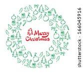 christmas wreath of sketch... | Shutterstock .eps vector #166045916