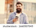 Small photo of You deserve coffee break. Bearded man drink coffee during work break. Brutal hipster enjoy coffee break. Break time. Good morning mood. Happy vibes. Breakfast. Drink and food.