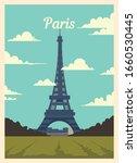 Retro Poster Paris City Skyline....