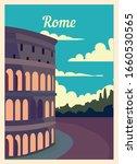 Retro Poster Rome City Skyline. ...