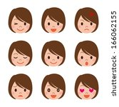 facial expression of the woman | Shutterstock .eps vector #166062155