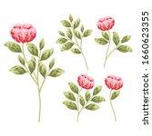 set of flower elements for... | Shutterstock . vector #1660623355