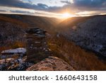 Small photo of A frigid and gusty sunset of the Blackwater Canyon from Lindy Point in Blackwater Falls State Park, West Virginia.