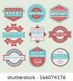 set badges for christmas cards  ... | Shutterstock .eps vector #166074176
