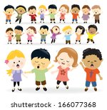 group of kids singing | Shutterstock .eps vector #166077368
