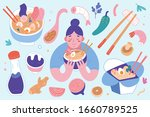 ramen collection  bowls and... | Shutterstock .eps vector #1660789525