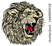 Vector Illustration Of Lion On...