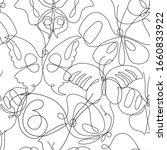 Butterfly Line Art Seamless...