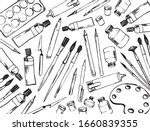 pattern art materials. brushes  ... | Shutterstock .eps vector #1660839355