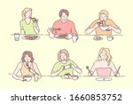 people eating different food... | Shutterstock .eps vector #1660853752