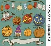 pumpkin hand drawn collection | Shutterstock .eps vector #166091432