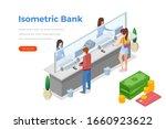 isometric cashdesk with people... | Shutterstock .eps vector #1660923622