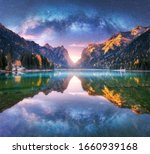 Milky Way Reflected In Water In ...