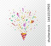 colorful confetti flying on... | Shutterstock .eps vector #1661015905