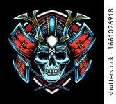 skull with samurai helmet vector | Shutterstock .eps vector #1661026918