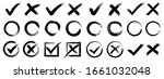 set hand drawn check mark  tick ... | Shutterstock .eps vector #1661032048