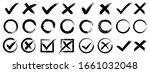 set hand drawn check mark  tick ... | Shutterstock .eps vector #1661032048