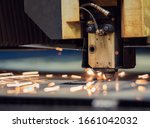Cutting Of Metal. Sparks Flying ...