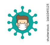 man face with flu mask icon... | Shutterstock .eps vector #1661045125
